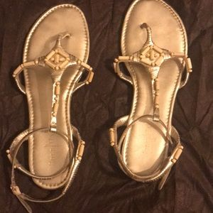Cole Haan Gold sandals with bamboo threaded on top